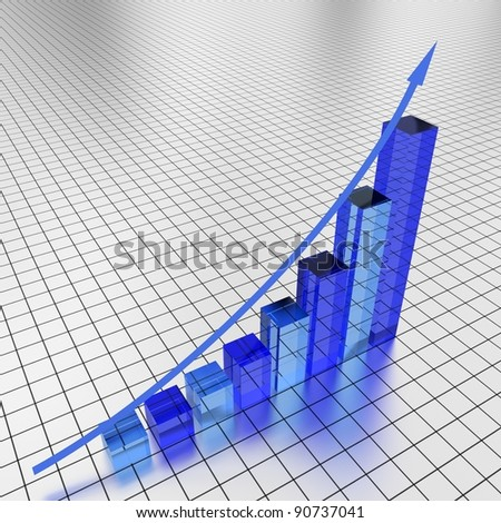 Illustration of a glass graph showing an increase in profits - stock photo