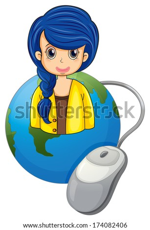Illustration of a globe with a businesswoman and a computer mouse on a white background - stock photo
