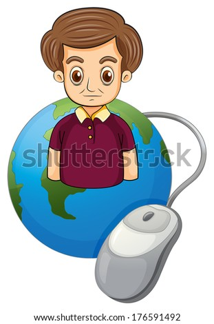 Illustration of a globe with a serious man on a white background - stock photo