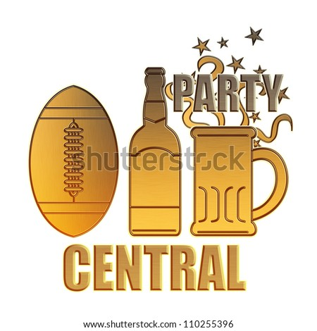 illustration of a golden american football ball,beer bottle,glass mug and potato chips bowl done in metallic gold style on isolated white background with words party central - stock photo