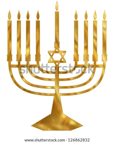 Illustration of a golden Menorah candelabra - stock photo