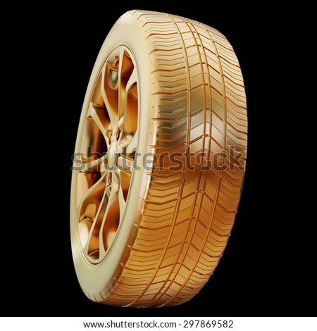 illustration of a golden tire isolated High resolution 3d - stock photo