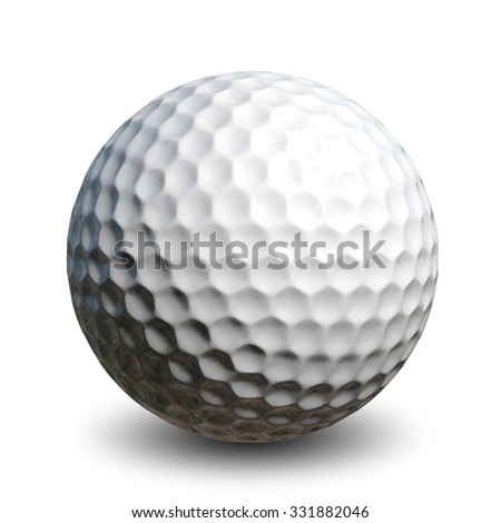 Illustration of a golf ball on a white background - stock photo