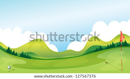 Illustration of a golf course with the mountains as a background. - stock photo