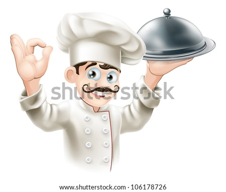 Illustration of a gourmet chef holding  silver platter and giving an okay sign - stock photo