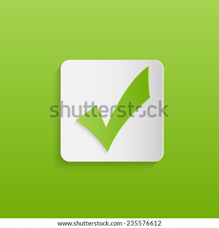 Illustration of a green check mark design against a colorful green background. - stock photo