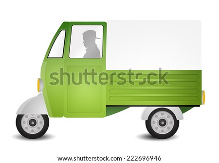 illustration of a green truck - stock photo