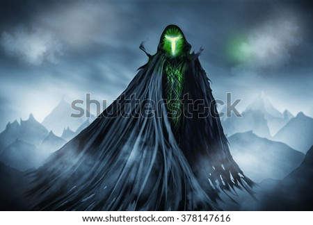 Illustration of a Grim Reaper or fantasy evil spirit with a mountain background. Digital painting.