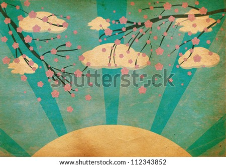 Illustration of a grunge Cherry blossom abstract background - stock photo