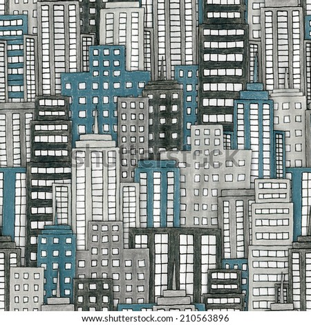 Illustration of a hand drawn cityscape background. Seamlessly Repeatable. - stock photo