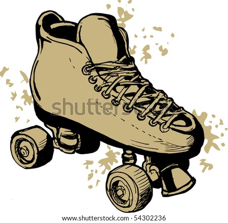 illustration of a Hand drawn Roller skates  isolated on white background. - stock photo