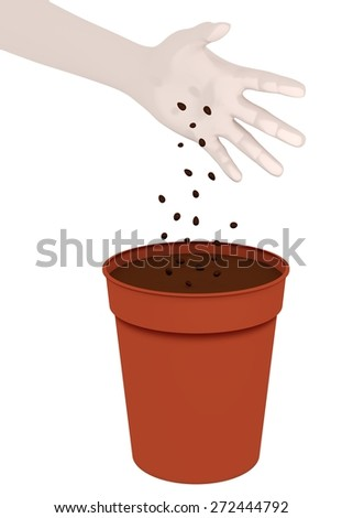Illustration of a hand dropping seeds into a plant pot - stock photo
