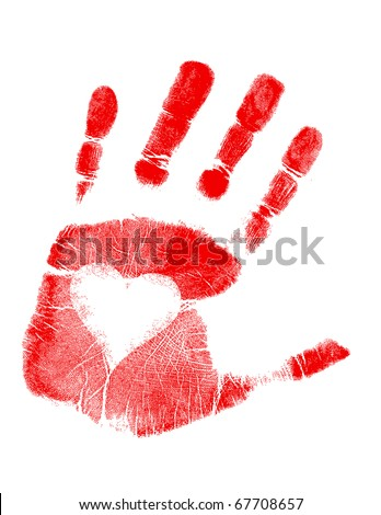 Illustration of a hand-print with a heart. Vector available. / love Hand print - stock photo