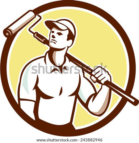 Illustration of a handyman house painter holding paint roller on shoulder set inside circle on isolated background done in retro style.  - stock photo