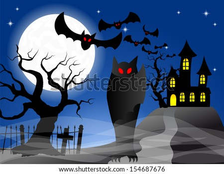 illustration of a haunted castle with bats - stock photo