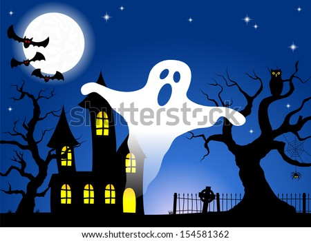 illustration of a haunted house in a full moon night
