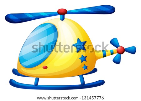 Illustration of a helicopter toy on a white background - stock photo