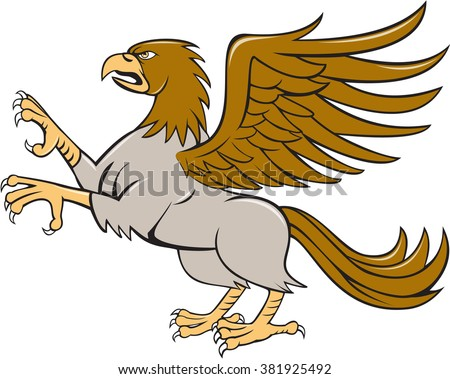 Illustration of a hippogriff or hippogryph, legendary creature with front quarters of an eagle and the hind quarters of a horse prancing showing talons on isolated white background  in cartoon style.