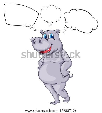 Illustration of a hippopotamus on a white background - stock photo