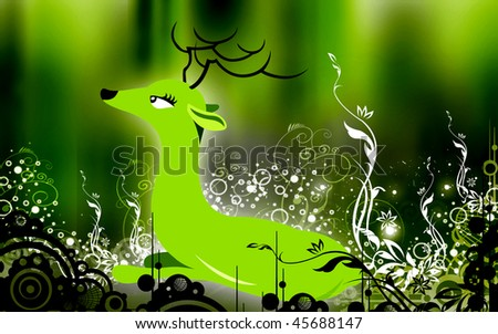 Illustration of a horn dear resting in a grass land	 - stock photo