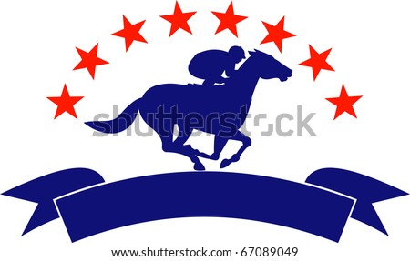 illustration of a horse and jockey racing silhouette with scroll in front and stars in background isolated on white