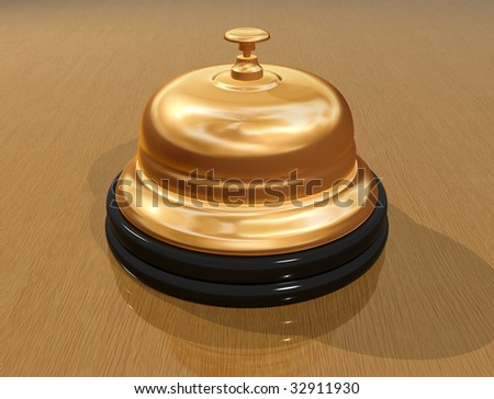 Illustration of a hotel bell on a counter - stock photo