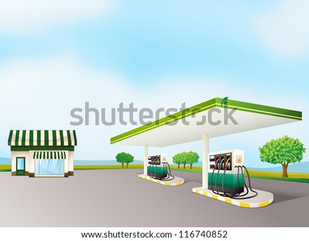 illustration of a house and a gas station in a beautiful nature - stock photo
