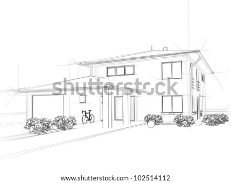 Illustration of a house. Black ink drawing. - stock photo