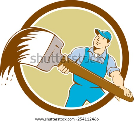 illustration of a house painter handyworker holding giant paintbrush brush viewed from front set inside circle on isolated background done in cartoon style. - stock photo