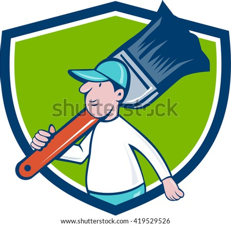 Illustration of a house painter walking carrying giant paintbrush on shoulder viewed from the side set inside shield crest on isolated background done in cartoon style.  - stock photo