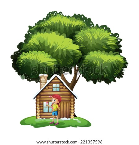 Illustration of a house under the tree with a little girl playing on a white background - stock photo