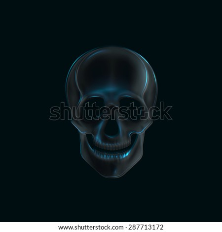 illustration of a human  skull x-ray print. medical concept