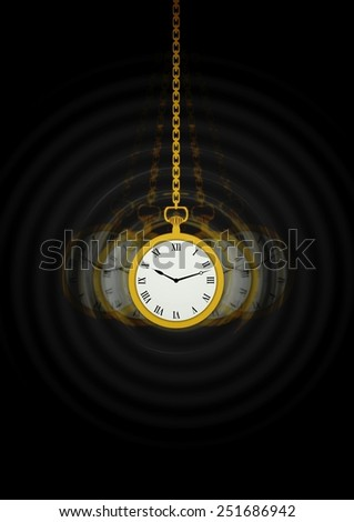 Illustration of a Hypnotists pocket watch with motion trails - stock photo