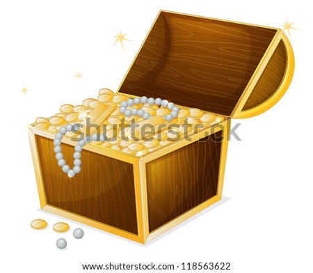 illustration of a jewellery and a box on a white background - stock photo