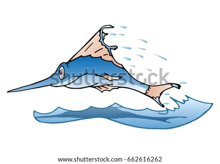 illustration of a jumping marlin fish on isolated white background