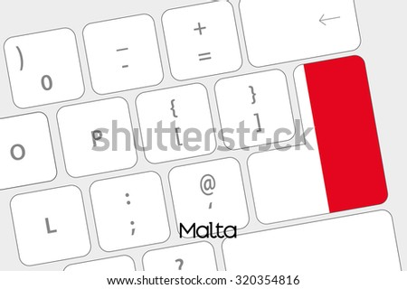 Illustration of a Keyboard with the Enter button being the Flag of Malta