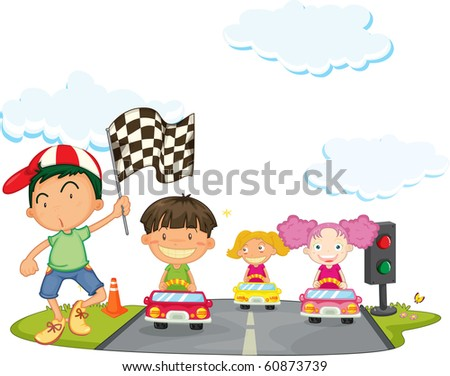 illustration of a kids on a white background - stock photo