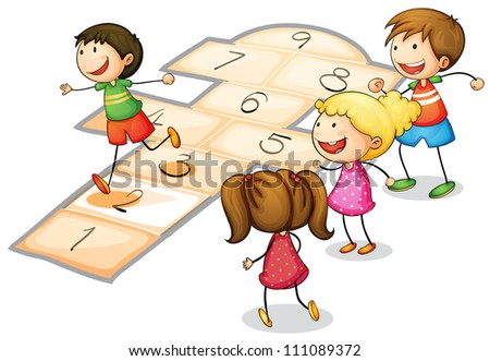 illustration of a kids playing a number game - stock photo