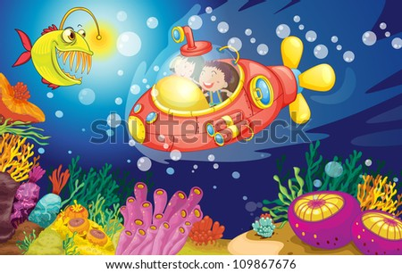 illustration of a kids swimming in water - stock photo