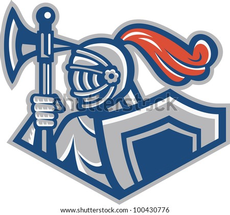 Illustration of a knight with spear ax and shield viewed from side done in retro style. - stock photo
