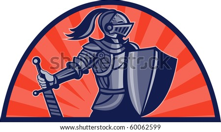 illustration of a Knight with sword and shield facing side with sunburst in background done in retro style - stock photo