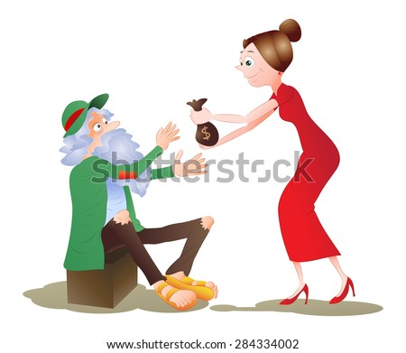 illustration of a lady give money to hungry beggar Homeless man on isolated white background - stock photo