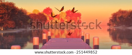 illustration of a landscape with trees reflected in water and butterfly - stock photo