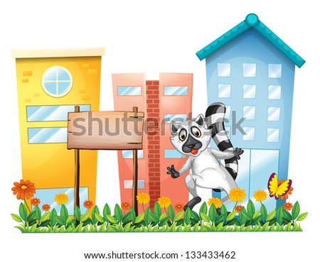 Illustration of a lemur beside an empty signage at the garden on a white background