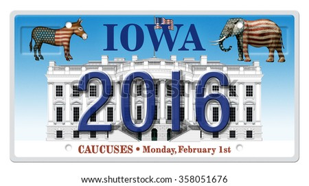 Illustration of a license plate showing the presidential election year 2016, the White House, a Republican elephant, and a Democrat donkey, highlighting the Iowa caucuses. Includes clipping path. - stock photo