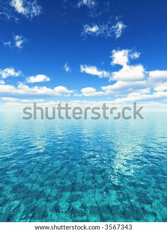 illustration of a limpid tropical sea - stock photo
