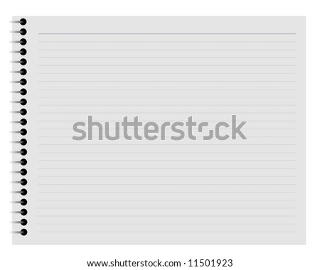 Illustration of a lined notepad page over a white background