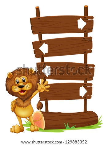 Illustration of a lion and the wooden board on a white background