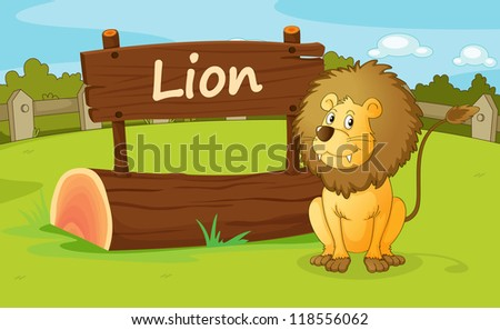 illustration of a lion in a beautiful nature - stock photo