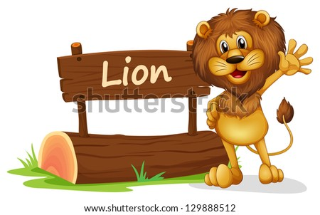 Illustration of a lion standing beside a wooden signage on a white background
